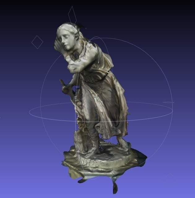 """a rendering of a 3D model of the sculpture """"Nydia, the Blind Flower Girl of Pompeii"""" by Randolph Rogers, shown in blue, against a gridded grey background"""