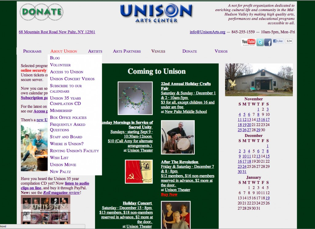Figure 1 - UnisonArts.org Homepage, as of December 2, 2012, showing the dropdown menu for the About Unison navigation item