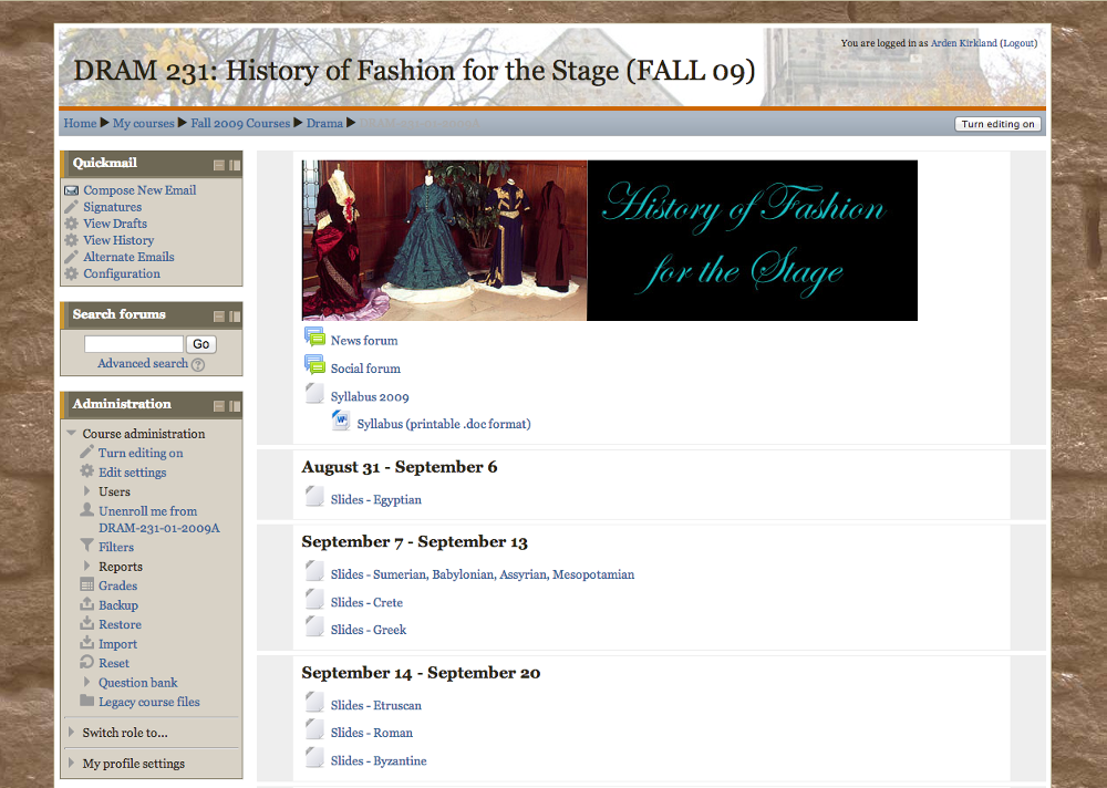 A screenshot of the home page of a site I maintained in Moodle, adapted from a site previously created in Blackboard. Click to scroll through the whole page.