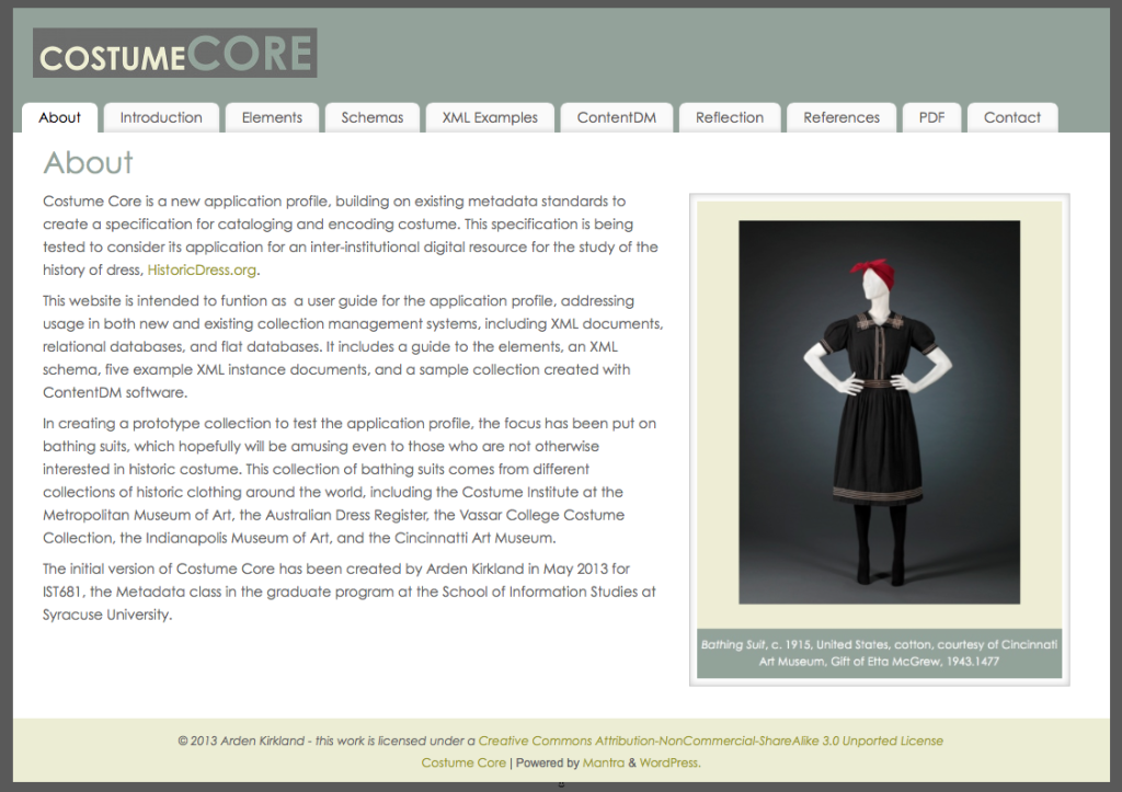 A screenshot of the website with the User Guide and examples of the Costume Core Metadata Application Profile