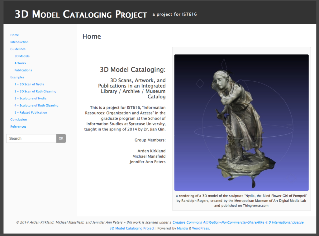 A screenshot of a website created to showcase our group project to catalog 3 D models of artwork at the Metropolitan Museum of Art