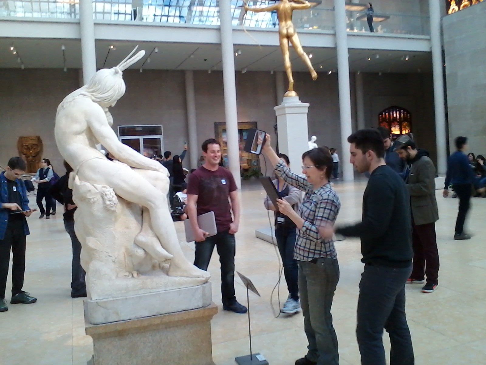 Scanning sculpture at the Met, using the Sense scanner from 3D Systems