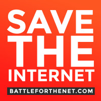 Save the Internet in white text against red background