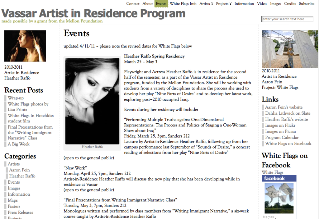 A screenshot of the Events page of the blog for the Artist in Residence pilot program at Vassar College.