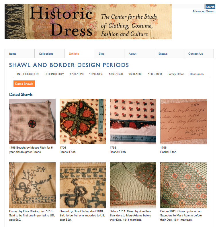 A screenshot from the Omeka site for HistoricDress.org, from an exhibit about shawls.