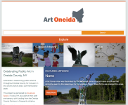 home page for the ArtOneida website with 5 images of local art